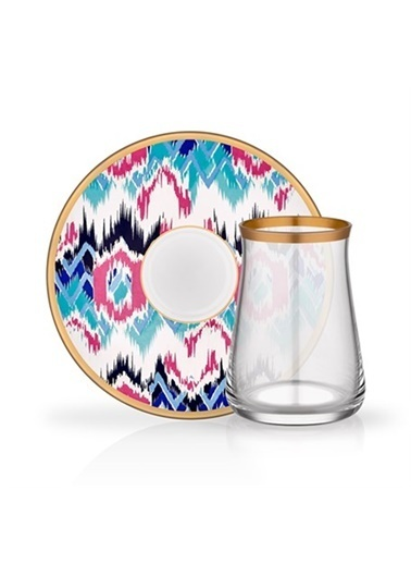 Glore Tarabya Çay Seti 6'Lı Rosa Renkli